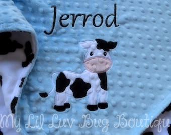 Personalized cow baby blanket- baby blue and black baby cow- 30x35 stroller blanket