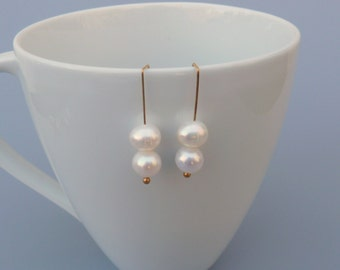 White Pearl Earrings, Pearl Abacus Earrings, Artisan Earrings, Lightweight Earrings, Pearl Drop Earrings, Minimalist Earrings, Gift For Her