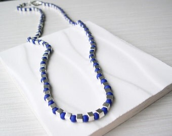 Indigo Blue Seed Bead Necklace - Modern Jewelry, Silver Cubes, Contemporary, Royal, Long