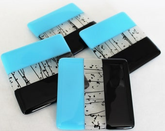 FUSED GLASS COASTERS - Turquoise Black Drink Coasters, Under 25, Fused Glass, Man Cave Gift, Super Bowl Panthers, Team Colors, Football