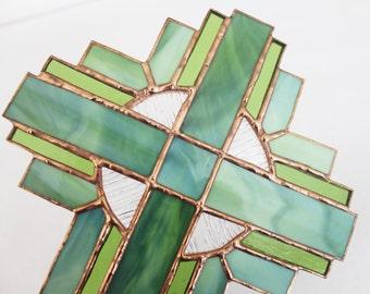 STAINED GLASS CROSS-Green Cross Suncatcher, Wedding Gift, Christian Gift, Religious Baby Gift, Confirmation Gift, Green Christian Home Decor