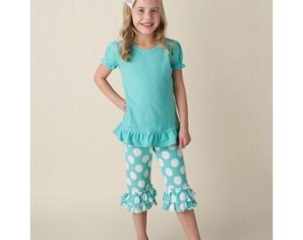 Aruba Blue Ruffle Shirt and Ruffle Capri Set - FREE Personalization