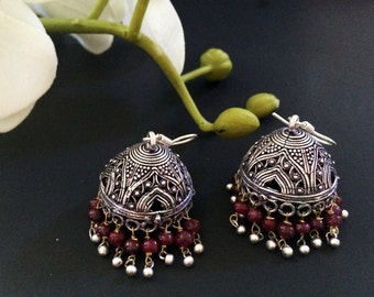 Ruby Jhumka Earrings,Large Silver Jhumkas,Ruby red,Ethnic Jewelry,Indian Tribal Jhumkis, Designer Jhumka by TANEESI