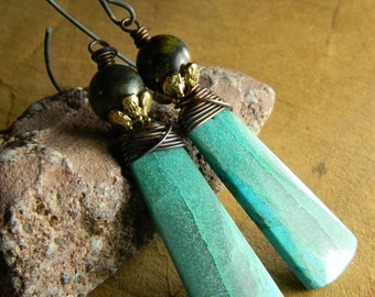 Boho Bohemian Jewelry Chrysocolla Earrings Matched Stones Aqua Rustic Copper Wire Wrapped
