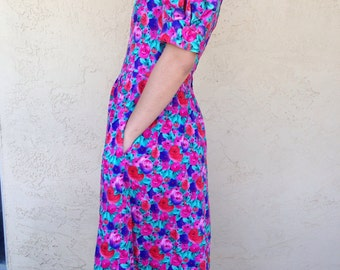 Happy Floral Lanz originals eighties dress size small retro vintage 1980s ankle length dress