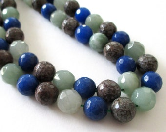 """Agate Faceted Round Beads - Round Ball Agate - Assorted Colors Blue Gray Green Beads - Natural Gemstone - 10mm - 16"""" - Diy Jewelry Making"""
