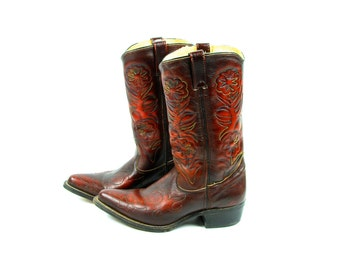 Vintage OxBlood Double H Boots with Colorfully Ornate Stitched Leather, Men's size 8 D