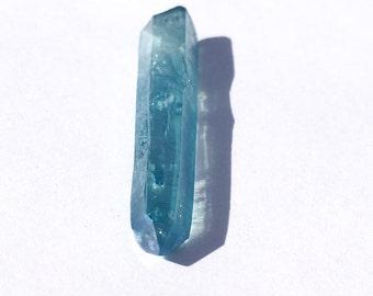 Aqua Aura Quartz Crystal Pendant Point Reiki Healing Wicca Metaphysical • SPIRIT REALMS a6