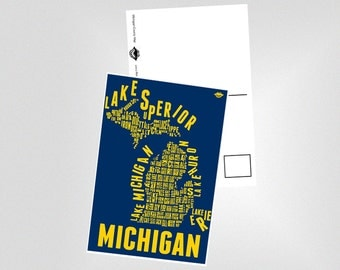 U of M - Michigan County Map Postcard