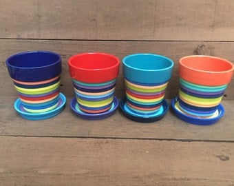 Medium Ceramic Flower Pot with Drip in Bright Rainbow Colors Stripes - Bright Salsa Orange Interior with Sunny Yellow and Sapphire Blue Dish