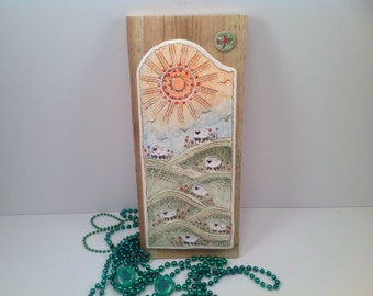 Decorative wall tile/sheep in the meadow/sheep/clay tile/wall tile/shamrocks/irish pottery/ready to ship