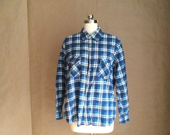 WEEKEND SALE 25% OFF / vintage 1970's oversized boyfriend shirt / flannel shirt/  button down / all cotton