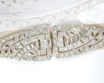 ANTIQUE 1920s Sash Buckle OR Bridal Hair Comb, Original Art Deco Rhinestone Vintage Wedding Dress Belt/Great Gatsby Hair Accessory Hairpiece