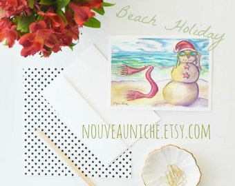 Beach Holiday Card, Holiday Card, Xmas Card Funny Greeting Card Snowman Seasons Greetings Blank Card Merry Christmas Beach Holiday Nautical