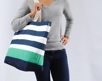 EXTRA Large Beach Bag // Tote in Navy Horizontal Stripes with Green Stripe, Monogram Available