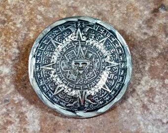 Aztec Calendar Taxco Mexico Silver Sterling 925 Sun God Vintage Pendant Brooch Exquisite Detail Diamond Cut Edge Patina Hilites Fine Details