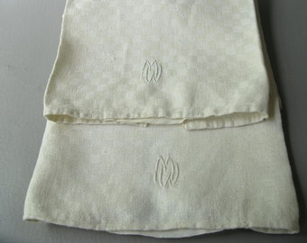 Vintage Monogrammed  M W tea towels, set, dish towel, ivory, cotton, kitchen, woven