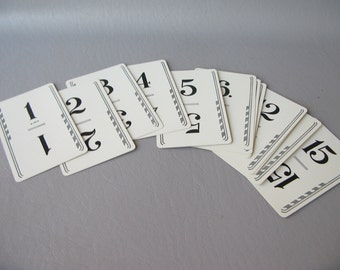 Wedding Table Numbers, Flinch cards, 1-15, numbered cards