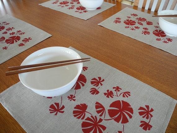 Linen Placemats (set of 4) Screen Printed Linen Place Mats Deep Red&Natural
