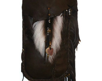OOAK Deer tail leather possibles bag baculum mountain man unisex cross body big and tall