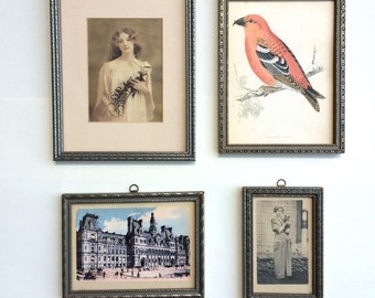 Four Antique Picture Frames: Wood with Silver and Dark Grey Designs