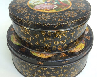 Pair of Vintage  Biscuit or Cake Tins: Black and Gold With French Rococo Style Courting Scene