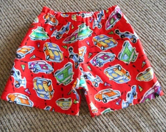 Little Boys race car red shorts  infant through 3 years