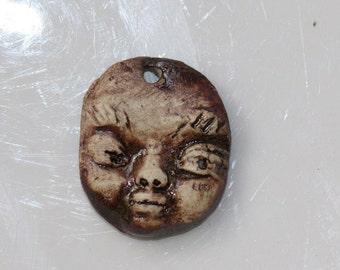 Ceramic Face Pendant Handmade stoneware clay Tribal face art bead organic earthy artisan jewelry supplies potterygirl1