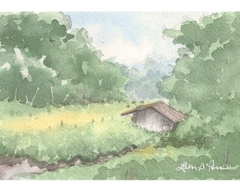 Original Watercolor Barn Landscape Painting by Laura D. Poss, 4 x 6 inches