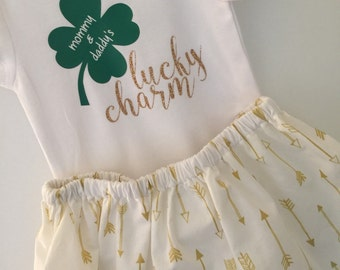 Lucky Charm St. Patrick's Day Outfit; St. Patty's Baby Girl Outfit; St. Patrick's Day onesie