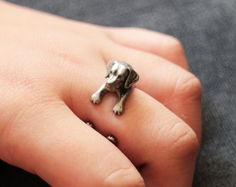 Dog Ring. Puppy Ring,  Golden Retriever Ring,  Adjustable Ring, Antique Silver Ring, Friendship Ring. Pet Ring