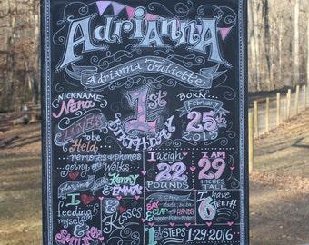 First Birthday Chalkboard Birthday Sign - Birthday Chalkboard - chalk sign