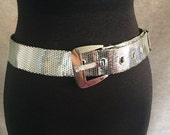 GLAM...Vintage 70's Silver Belt, Whiting and Davis Metal Mesh, BohoGypsy, Festival Chic, Medium to Large