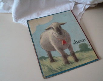 1930s Old Board Book Page of a Horse and a Sheep. Saalfield 1938