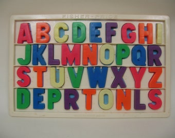 Vintage Fisher Price Large Letter Magnets/Board