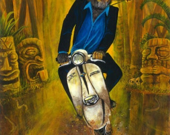 Chimp Scooter Lambretta Lowbrow Kustom Art Print Ape Monkey Tiki Bar Surf Music