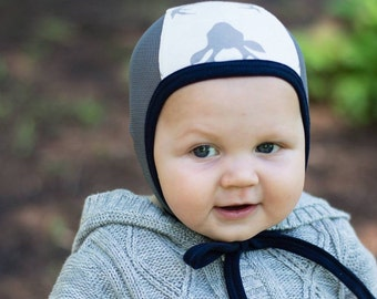 Baby pilot hat, deer print cotton hat, Emmifaye hat, hearing aid hat, baby hat with mesh, toddler hat, hat with ties, baby cap