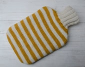 Knitted Hot water bottle Cover Yellow and Cream Stripes wool and alpaca