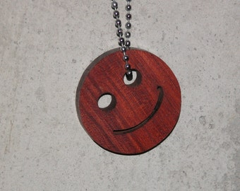 Key Chain with a Grin - Smile Key Ring - Wooden Happy Face