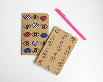 Hand-painted and Hand-Printed Notebook, Set of 2, Lipstick, Eyes, Pop Art, Illustration, Lined Notebook, Pocket Journal, Moleskine