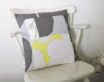 Marimekko pillow modern patchwork throw pillow gray yellow cushion decorative home decor