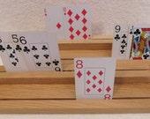 1 Set Handmade Solid White Oak Playing Card Holders, handcrafted, easy card holding, custom made card holder, arthritis, children games