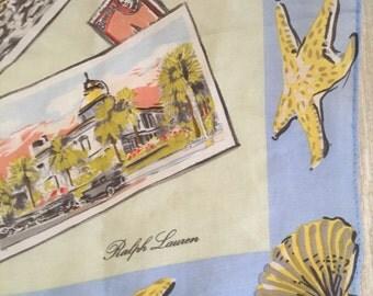 Bermuda Travel Scene on Baby Blue Vintage RALPH LAUREN Silk Scarf