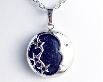 Night Sky Moon Pendant Necklace / Pick your Length / Moon and Stars Lover Gift Blue Goldstone Bridal Party Bridesmaids Shower Favors Boho