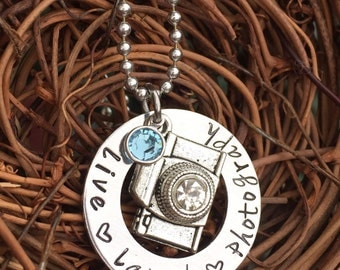 Personalized Hand Stamped Camera Necklace