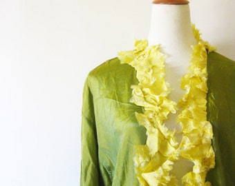 Vintage Pure Silk Lime Green Duster Cardigan 1970s Ruffled Pure Silk Blouse Citron Yellow Citrus Long Glamorous Bell Sleeves 70s Hollywood