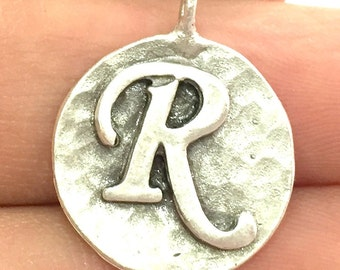 20mm R Charm , Antique Silver  Plated Brass G4881