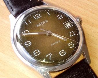 25% OFF ON SALE Vintage wrist watch Vostok mens watch men watch mens watch brown