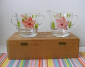 Vintage Hand Painted Creamer Sugar Set, Clear Crystal Pink Floral, Gay Fad Style