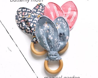 Garden Baby Teether, Natural Wood Teething Ring, Dusty Blue Cornflower Grey, Pale Pink, Moths Butterflies, Woodland Theme Baby Gift, Classic
